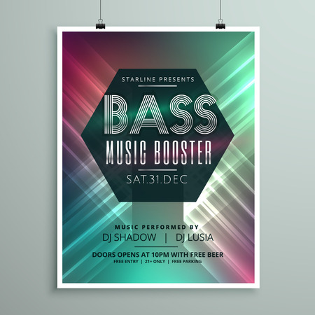 event party: stylish music party event flyer brochure template for your event Illustration