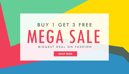 mega sale: mega sale marketing banner template with abstract colorful shapes Illustration