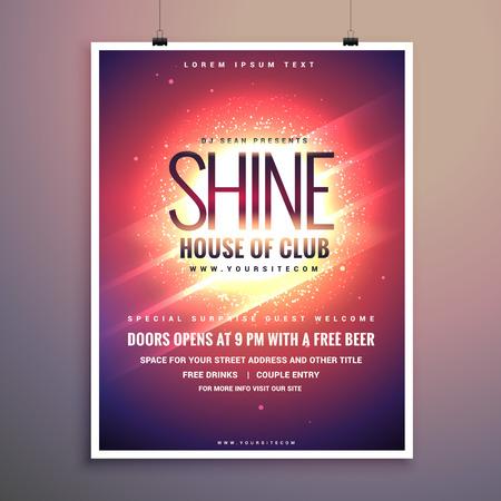shine club muziek partij flyer sjabloon met gloeiende achtergrond