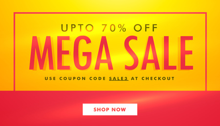 mega sale: mega sale banner template design in yellow and red color