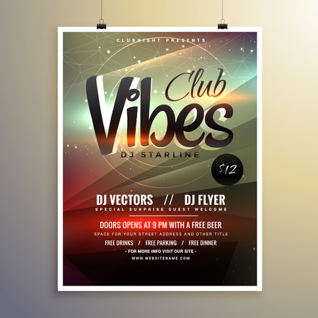 remix: abstract party music flyer brochure template with beautiful light effect Illustration