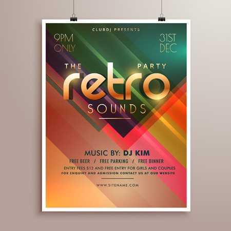 event party: retro music party event flyer invitation template