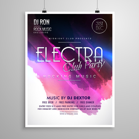 Music Party Event Flyer With Colorful Background Royalty Free
