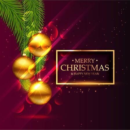 seasonal greeting: awesome christmas festival seasonal greeting card design with golden snowballs