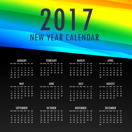2017 calendar template with colorful shapes