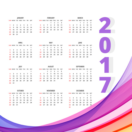 2017 calendar design with colorful wave