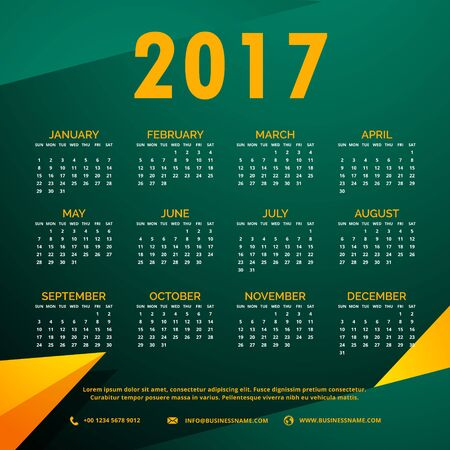stylish 2017 calendar design with abstract shapes