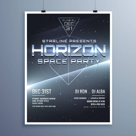 event party: universe style space party music event flyer for new year
