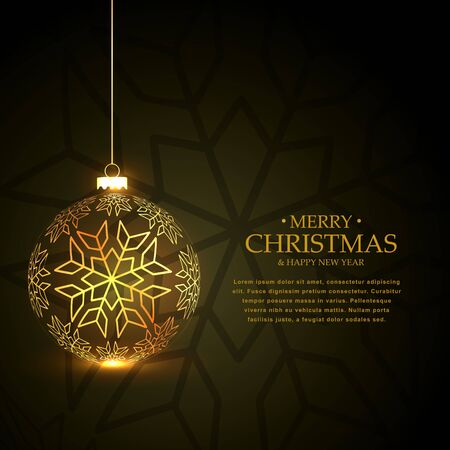year greetings: golden christmas ball made with snowflakes on green background