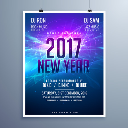 remix: happy new year 2017 flyer layout template with abstract glowing background