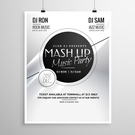 new year party: music party flyer template layout design for new year Illustration