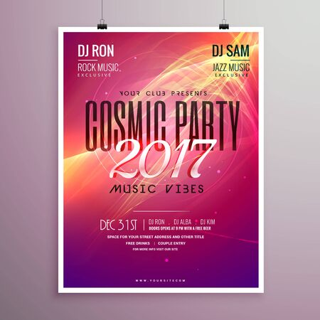 2017 happy new year party event flyer template with abstract shapes Illustration