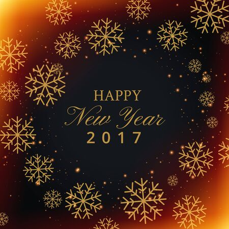 text year: beautiful snowflakes background with happy new year text