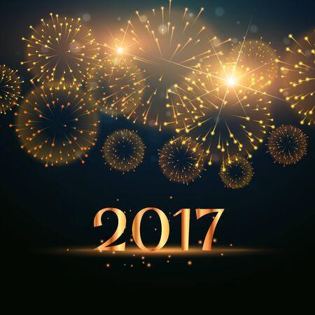 2017 new year fireworks celebration background Vettoriali