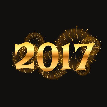 2017 new year celebration background with golden lettering and fireworks