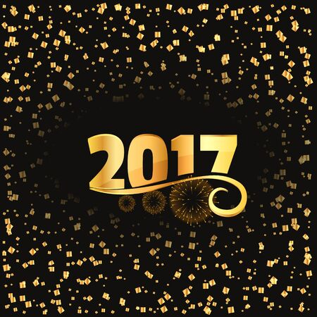 2017 celebration background with golden lettering and conffetti