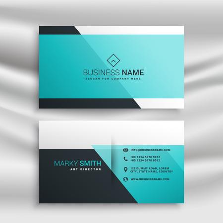 elegant business card design template with blue shapes Ilustracja
