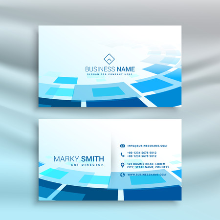abstract blue business card design in creative style Иллюстрация