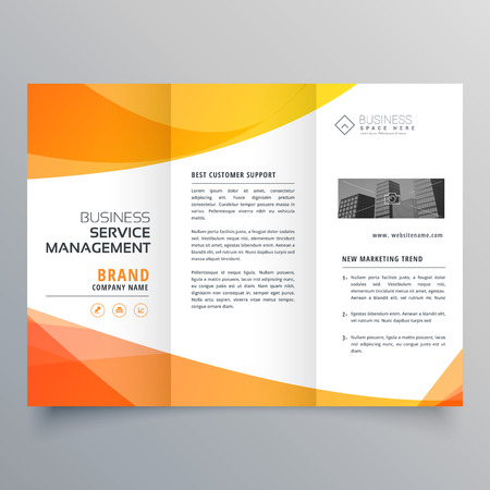modern orange trifold brochure template in wave style