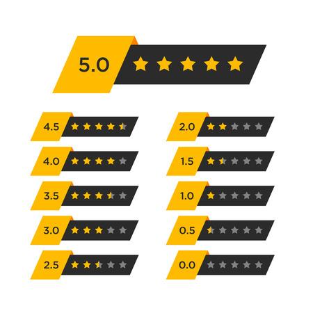 星の評価の記号を確認します。