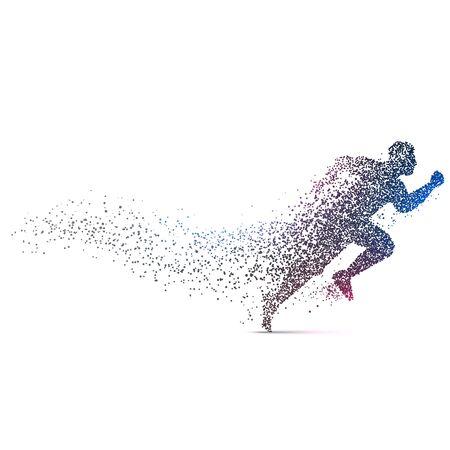 Mann läuft backgorund mit dynamischen Partikeln hergestellt Vektorgrafik