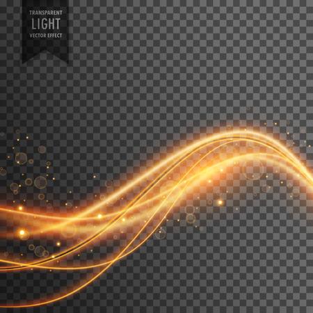 Licht effect van gouden lichtgolven met fonkelingen Stock Illustratie
