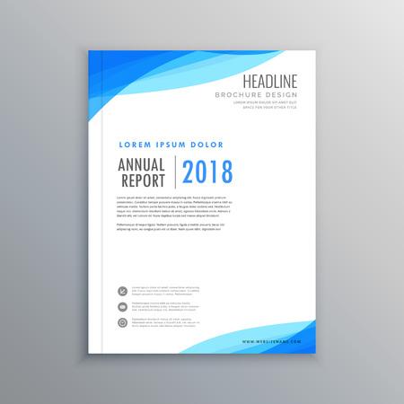 elegant blue wave business brochure template  イラスト・ベクター素材