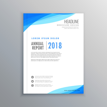 elegant blue wave business brochure template Vettoriali