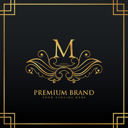 initial: elegant golden premium brand logo concept made with floral style Illustration