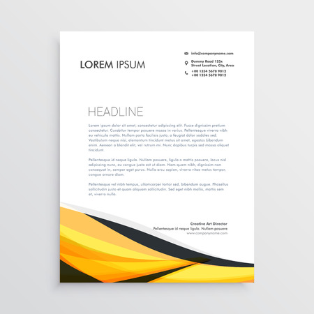 yellow and black abstract wave letterhead template Иллюстрация