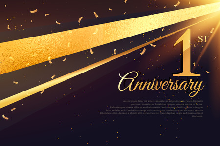 1st anniversary celebration card template Banco de Imagens - 69230829