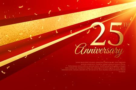 25ste verjaardagskaart sjabloon Stockfoto - 69230924