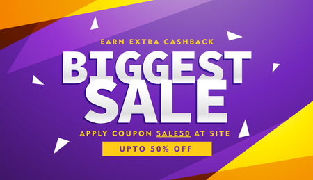 purple and yellow biggest sale discount voucher design template
