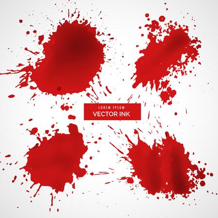 red ink splashes set