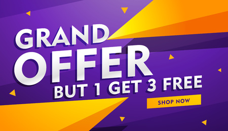 grand offer poster banner design for faishon and retail industry Vector Illustration