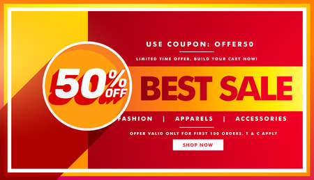 best sale banner and sale voucher design for brand promotion Illustration