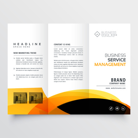modern tri-fold brochure flyer design template with yellow and black abstract shapes