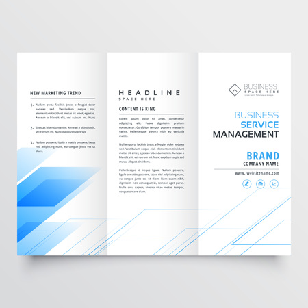 Elegant blue business tri-fold brochure flyer design print template