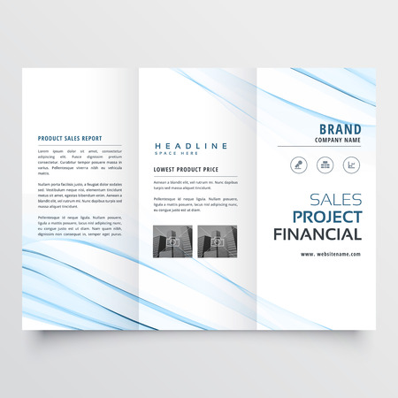 clean minimal tri-fold brochure flyer leaflet design with blue wave Illustration