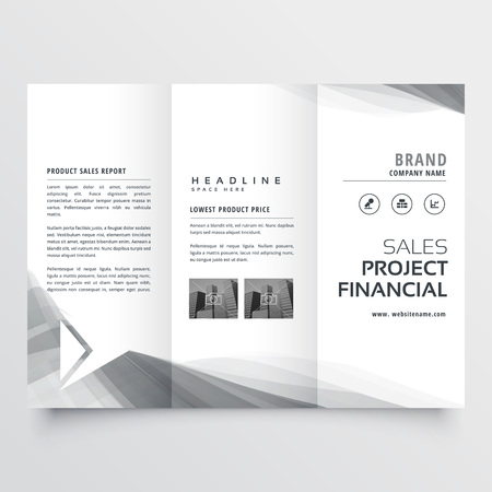 elegant business tri-fold brochure design with gray wavy shapes Illustration