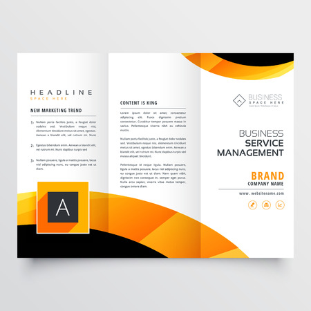 yellow orange black trifold brochure flyer design template for your business