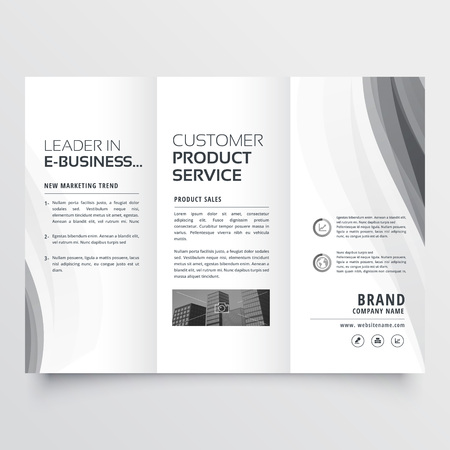 tri-fold business brochure with elegant gray wave