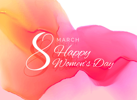 womans day celebration greeting card design with watercolor effect