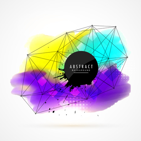 techology: colorful watercolor stain background with network wire mesh design