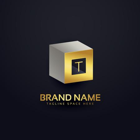 royal wedding: 3d letter T logo design template