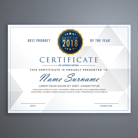clean white certificate design template Illustration