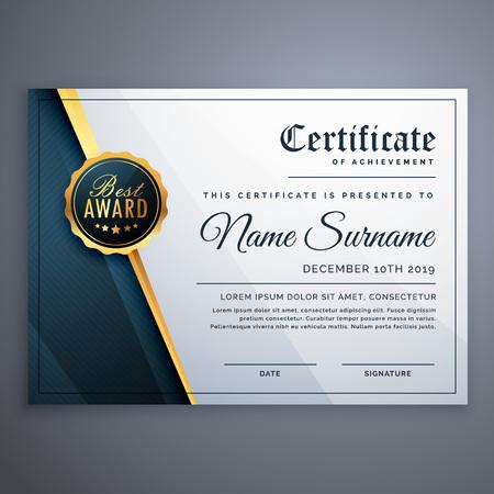 modern premium certificate award design template