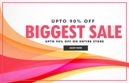 abstract discount banner with colorful wave Illustration