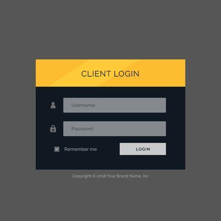 username: flat modern login form ui template design Illustration