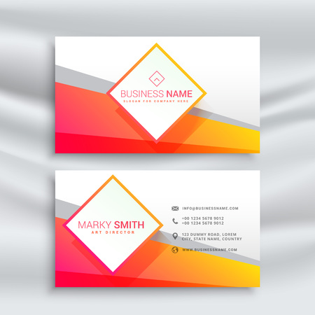 orange and white business card design